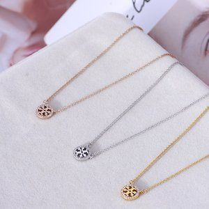 Tory Burch Simple Round Label Gold Plated Necklace